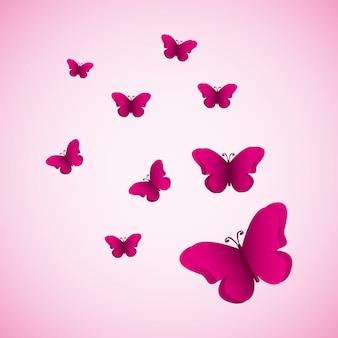 Silhuetas de borboletas rosa fundo