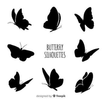 Silhuetas de borboletas voadoras