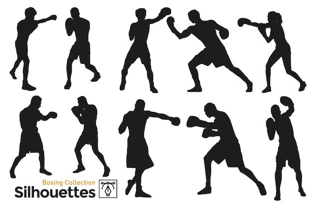 Silhuetas de boxe. pugilistas treinando. silhuetas isoladas. jogadores praticando esporte.