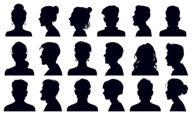 Silhuetas de cabeça. retratos de rostos masculinos e femininos, silhueta da cabeça de uma pessoa anônima
