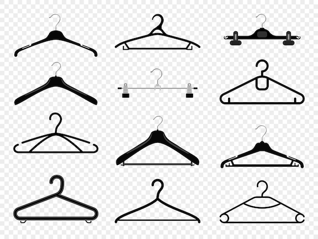 Silhuetas de cabide. equipamento de moda de roupas de cabides isolado em transparente, boutique de varejo ou casa de guarda-roupa pendurar prateleiras de metal com ganchos para casaco e vestido, calças e camisa, vetor
