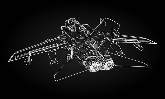 Silhuetas de caça a jato militar. imagem de aeronaves em contorno desenhando linhas. a estrutura interna da aeronave.