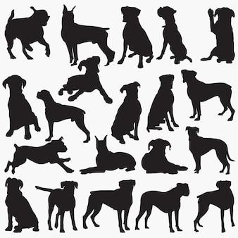 Silhuetas de cachorro boxer