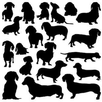Silhuetas de cachorro dachshund