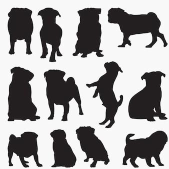 Silhuetas de cachorro pug
