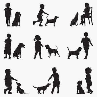 Silhuetas de cães de crianças