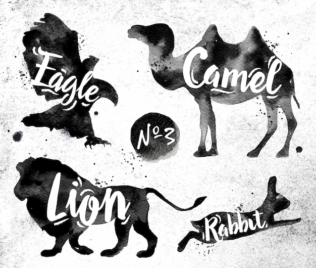 Silhuetas de camelo animal, águia, leão, coelho