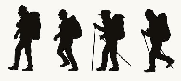 Silhuetas de caminhantes masculinos com mochilas em estilo vintage isoladas