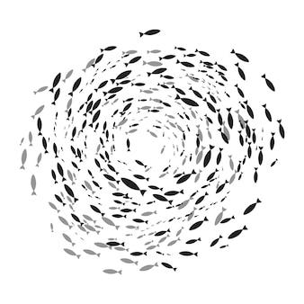 Silhuetas de cardume de peixes com vida marinha de vários tamanhos nadando peixes