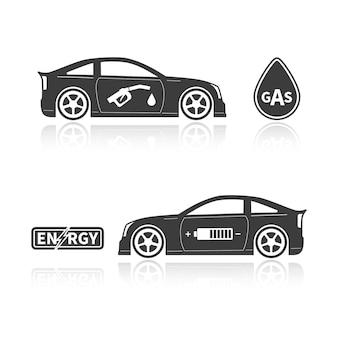 Silhuetas de carros isoladas em fundo branco