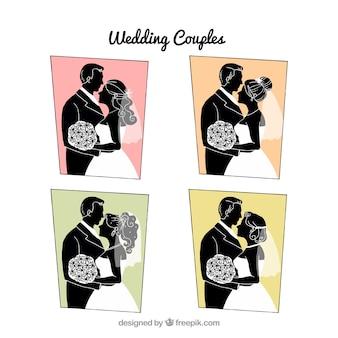Silhuetas de casais de casamento com fundos geométricos