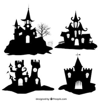Silhuetas de casas de halloween