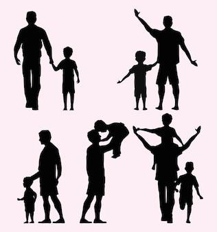 Silhuetas de cinco pais