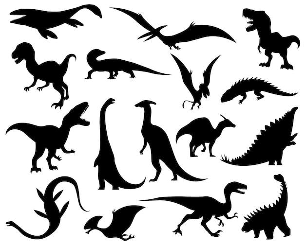Silhuetas de coleção de dinossauros. ícones de monstros dino. monstros répteis pré-históricos. ilustração em vetor isolada em branco. conjunto de esboço. esqueletos de dinossauros desenhados à mão