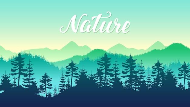 Silhuetas de coníferas floresta e montanhas paisagem plano de fundo de viagens.