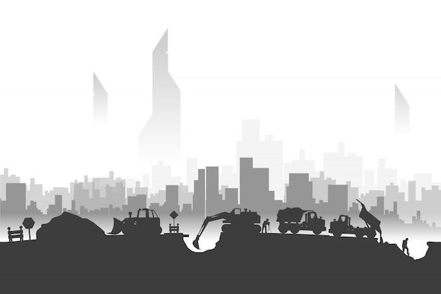 Silhuetas de construção na cidade