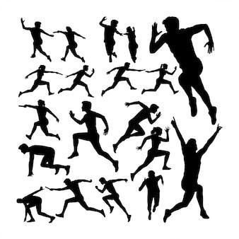 Silhuetas de corredor de corrida de revezamento
