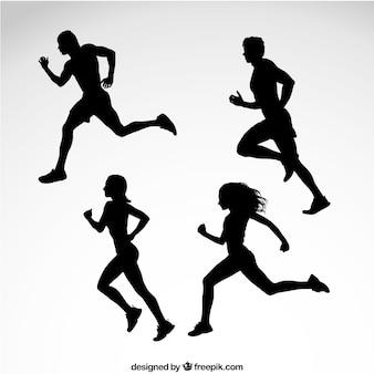 Silhuetas de corredores