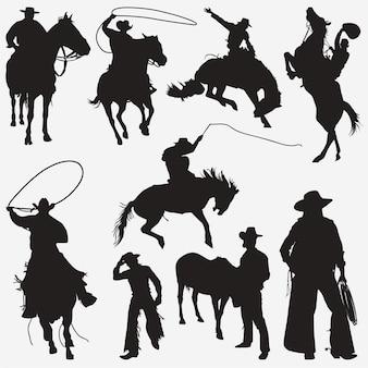 Silhuetas de cowboy