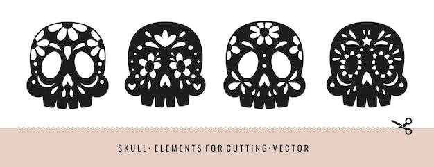 Silhuetas de crânios com padrões decorativos. modelos para corte a laser, corte de papel. decoração de halloween ou dia dos mortos.