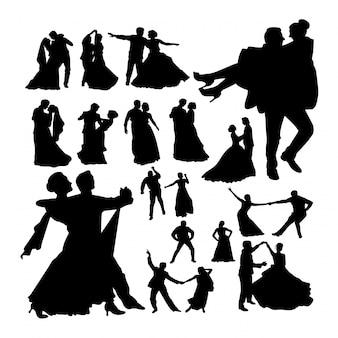 Silhuetas de dança de casamento.