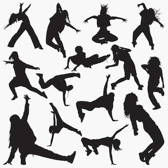 Silhuetas de dança de rua de mulheres