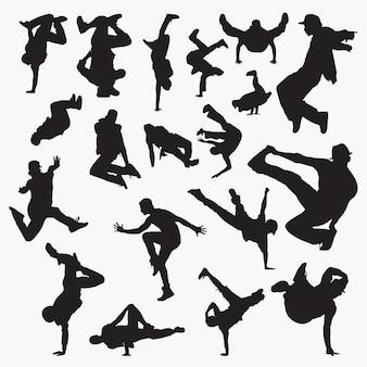 Silhuetas de dança de rua