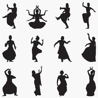 Silhuetas de dança indiana tradicional