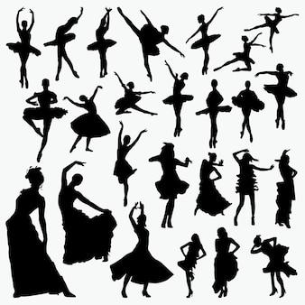 Silhuetas de dançarina de balé de salsa