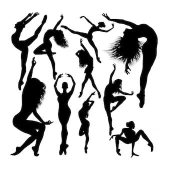 Silhuetas de dançarina de balé feminino atraente