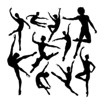 Silhuetas de dançarina de balé masculino atraente