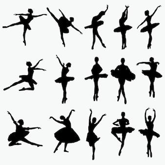 Silhuetas de dançarina de balé
