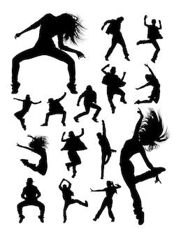 Silhuetas de dançarina de dança moderna hip-hop.