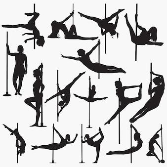 Silhuetas de dançarina de pole