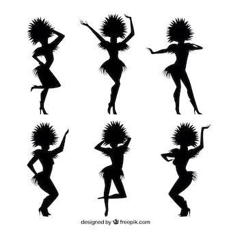 Silhuetas de dançarinos de carnaval