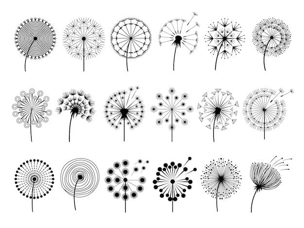 Silhuetas de dente de leão. ilustrações de ervas flores decoração