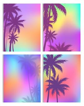 Silhuetas de desenhos animados de uma ilha exótica, natureza tropical de praia ou selva. folha de palmeira