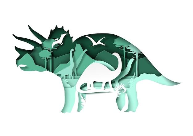 Silhuetas de dinossauros de corte de papel e paisagem natural.