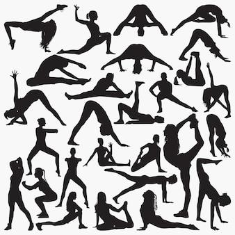 Silhuetas de exercício de ioga de mulher