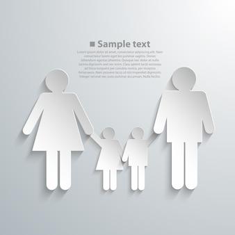 Silhuetas de família com arte de sombra. ilustração vetorial