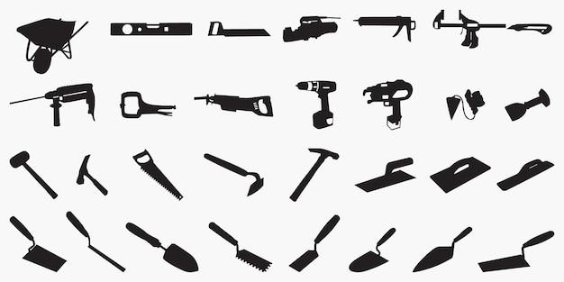 Silhuetas de ferramentas de alvenaria