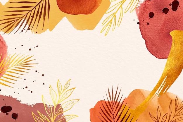 Silhuetas de folhas em aquarela de fundo