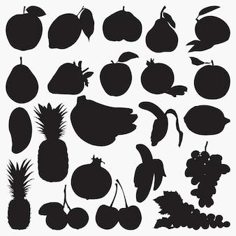 Silhuetas de frutas