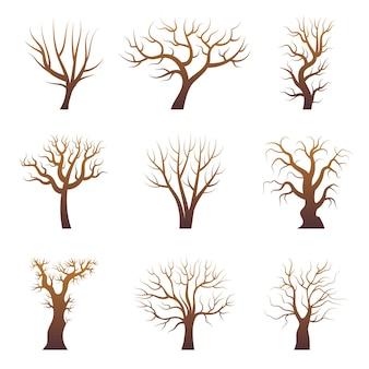 Silhuetas de galhos de árvores. conjunto de vetores de árvores da floresta abstrata sem folhas de plantas naturais. ilustração da árvore do ramo da floresta, tronco de madeira estilizado da natureza