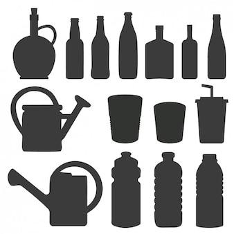 Silhuetas de garrafas e regador