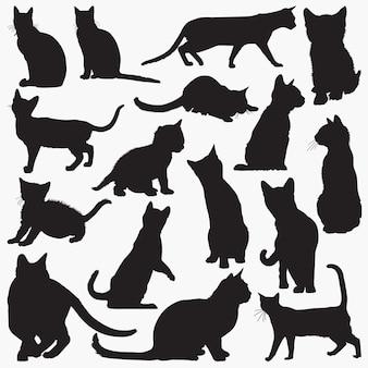 Silhuetas de gato de bengala