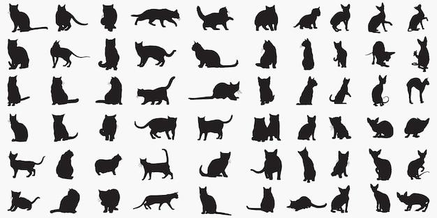 Silhuetas de gatos