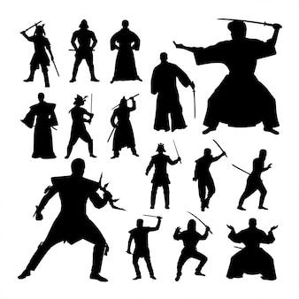 Silhuetas de gesto de samurai.