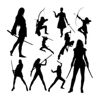 Silhuetas de guerreiras femininas