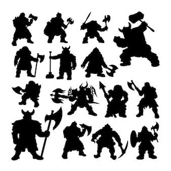 Silhuetas de guerreiro anão